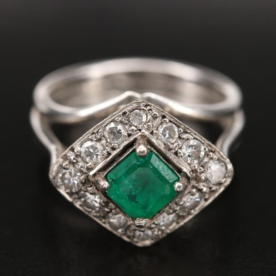 1940s 14K Emerald and Diamond Cathedral Ring
