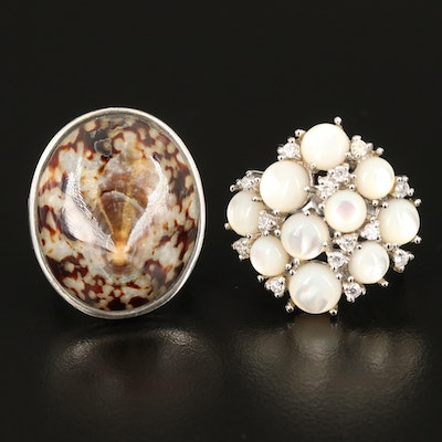 Sterling Rings Including Barse Shell Ring, Mother of Pearl and Cubic Zirconia