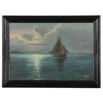 Nocturnal Seascape Oil Painting of Sailboat, Late 20th Century