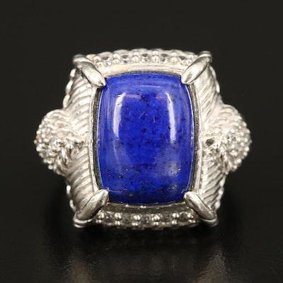 Judith Ripka Sterling Lapis Lazuli and Cubic Zirconia Ring