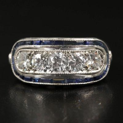 Art Deco Style Platinum 1.05 CTW Diamond and Sapphire Ring