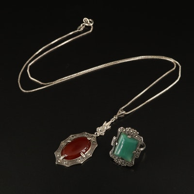 Art Deco Sterling Ring with Art Deco Style Sterling Necklace