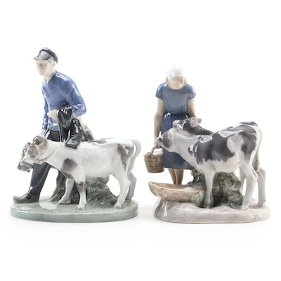 """Royal Copenhagen """"Boy and Girl with Calf"""" Porcelain Figurines"""