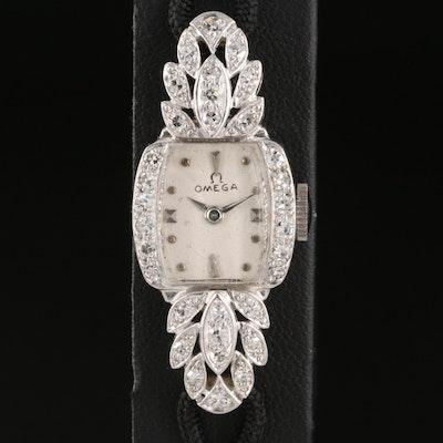 Vintage Omega Stem Wind Diamond and Platinum Wristwatch