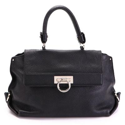 Salvatore Ferragamo Sofia Medium Top Handle Satchel in Black Pebbled Leather
