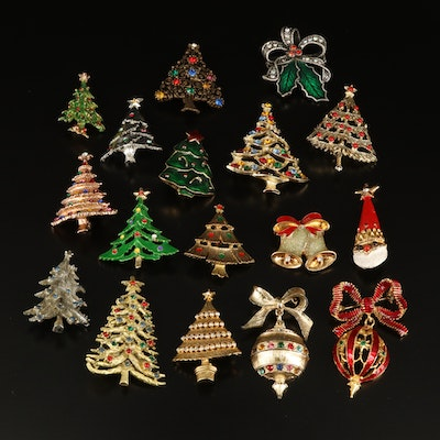 Vintage Christmas Brooches Featuring Rhinestone Trees