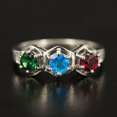 Sterling Ring Including Apatite, Garnet and Zircon