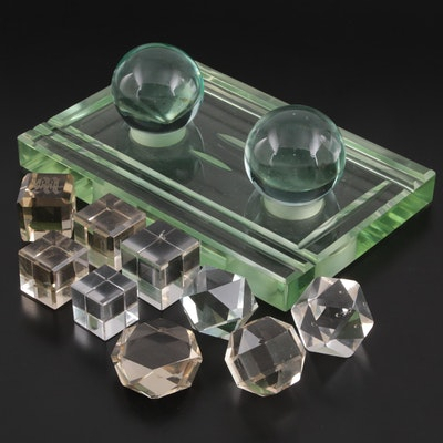 Cut Glass Pen Organizer and Cut Glass Paperweights