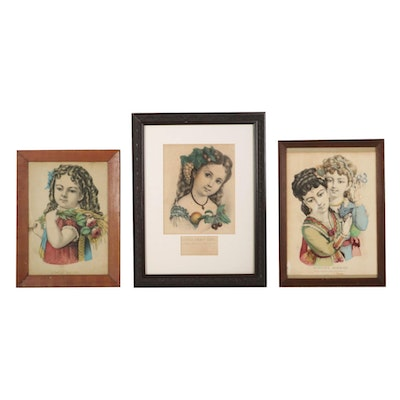 Currier & Ives Hand-Colored Lithographs of Young Women, Mid-Late 19th Century
