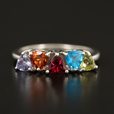 Sterling Ring Including Tanzanite, Tourmaline and Apatite