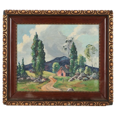Rural Landscape Oil Painting, Mid-20th Century