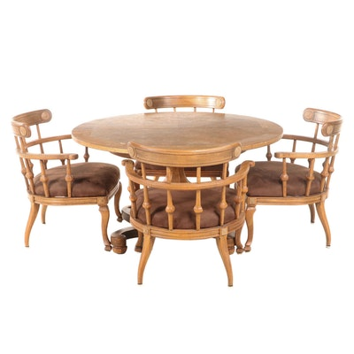 Classical Style Pecan Table with Four Captain's Chairs, 1970s