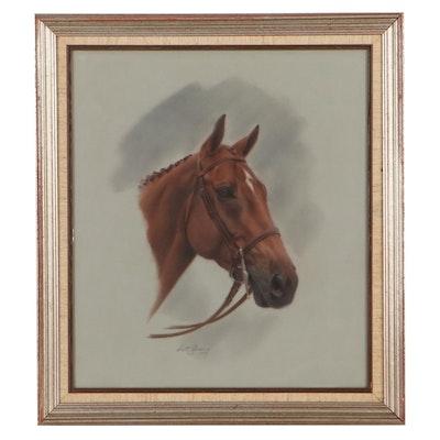 Scott Griswold Pastel Drawing of Horse Portrait, 1977
