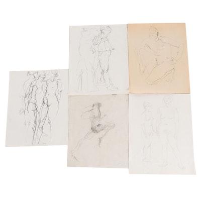 John Tuska Figural Nude Graphite and Charcoal Drawings, Late 20th Century