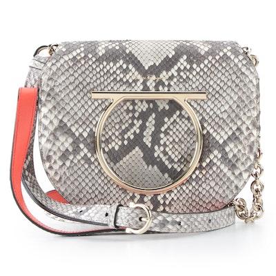 Salvatore Ferragamo Python Skin Gancini Vela Flap Medium Crossbody Bag