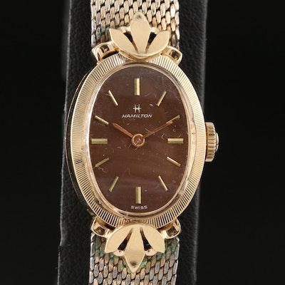 14K Hamilton Stem Wind Wristwatch with Gold Filled Bracelet