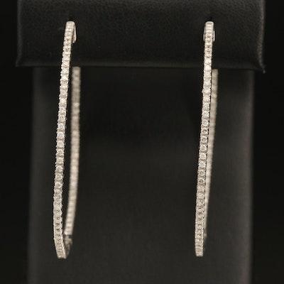 Sterling 1.50 CTW Diamond Large Hoop Earrings