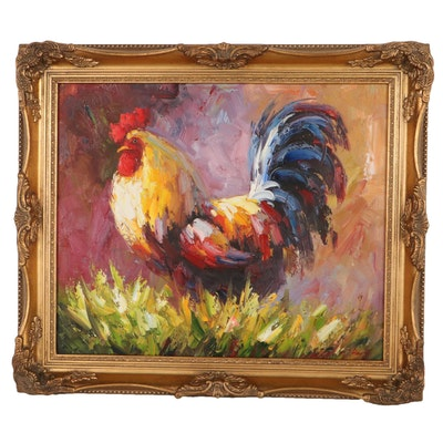 Oil Painting of Rooster, 21st Century