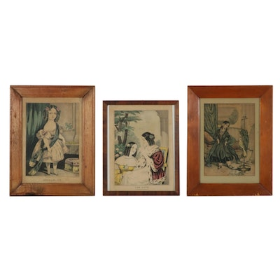 Hand-Colored Portrait Lithographs, Mid-Late 19th Century