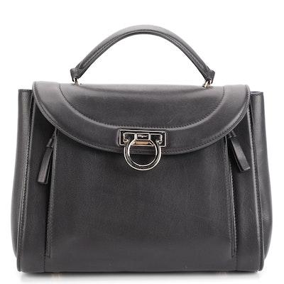 Salvatore Ferragamo Sofia Rainbow Small Saddle Bag in Black Leather