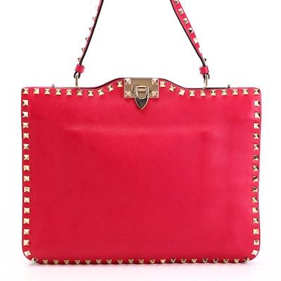 Valentino Rockstud Red Leather Convertible Shoulder Bag