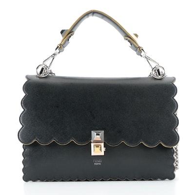 Fendi Kan Medium Top Handle Shoulder Bag in Black Calfskin with Scalloped Edges
