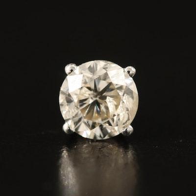 Single 14K 1.04 CT Diamond Stud Earring