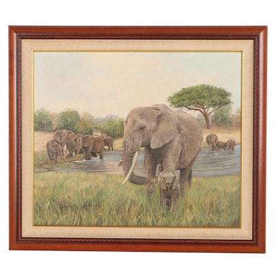 """David Stribbling Oil Painting """"Herd of Elephants Watering"""""""