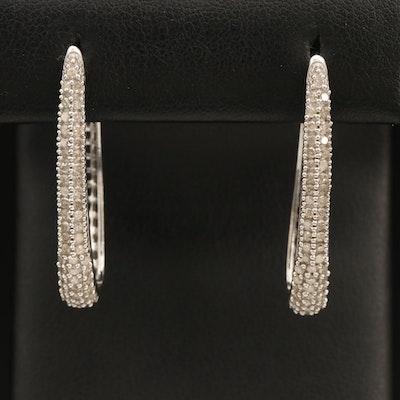 Sterling 1.01 CTW Diamond Elongated Hoop Earrings