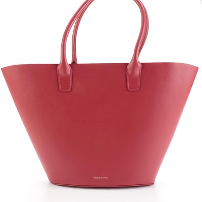 Mansur Gavriel Triangle Tote in Red Leather
