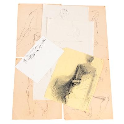 John Tuska Figural Nude Charcoal Drawings, Late 20th Century
