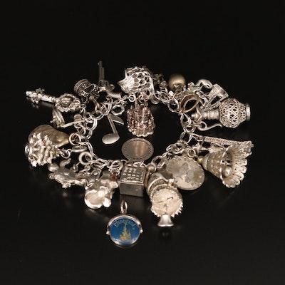 Sterling Charm Bracelet Including Disney, Rhinestone and Enamel