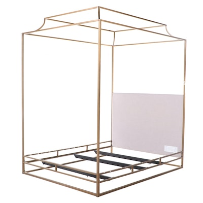 """Restoration Hardware """"Cecily"""" Brass-Finished and Linen Queen Size Canopy Bed"""