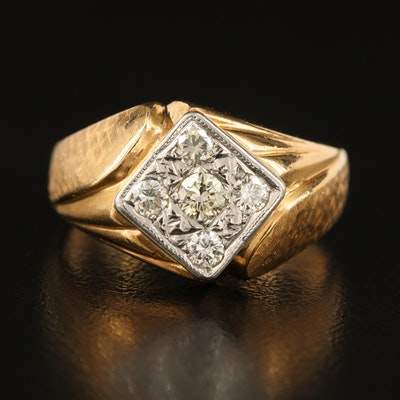 14K Diamond Cluster Ring with Textured and Fluted Shoulders