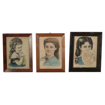 Currier & Ives Hand-Colored Female Portrait Lithographs, Mid-Late 19th Century