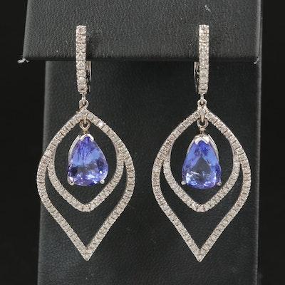 14K Tanzanite and 1.85 CTW Diamond Drop Earrings