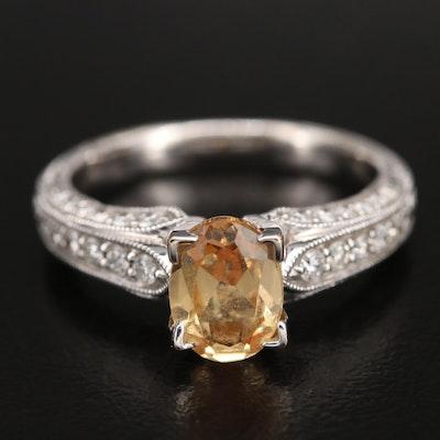 18K Sapphire and Diamond Ring with Milgrain Detail