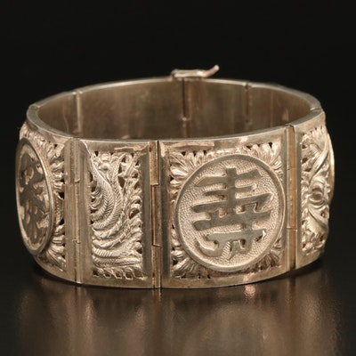 Vintage Chinese Sterling Panel Bracelet Including Good Luck and Long Life Symbol