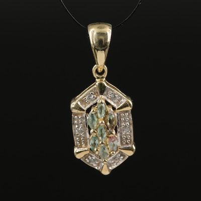 Sterling Silver Alexandrite and White Zircon Pendant