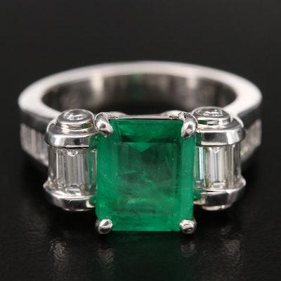 Platinum 2.62 CT Emerald and 1.50 CTW Diamond Ring
