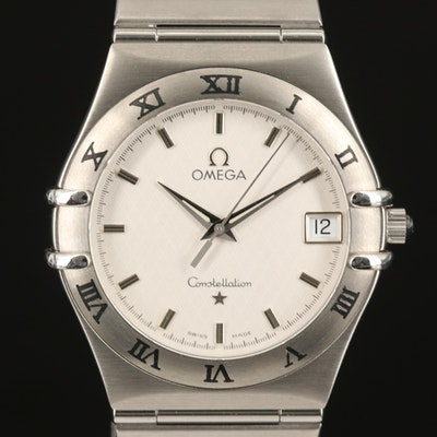 Omega Constellation Quartz Stainless Steel Wristwatch with Date