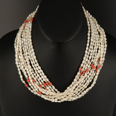 Pearl and Coral Bead Necklaces