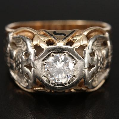 Masonic 14K 0.70 CTW Diamond Scottish Rite 32nd Degree Ring