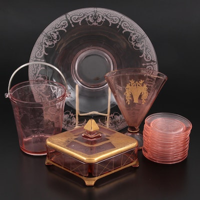 Cambridge and Other Pink Depression Glass Tableware and Accessories