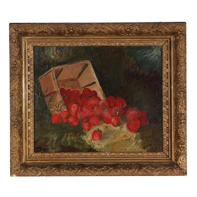 William Mason Brown Oil Sketch of Strawberries in Berry Box, Circa 1885