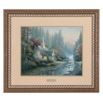 """Offset Lithograph After Thomas Kinkade """"The Forest Chapel,"""" Late 20th Century"""