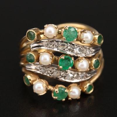 18K Emerald, Pearl and Diamond Openwork Ring