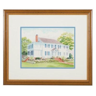 Suburban House Watercolor Painting, Circa 2000