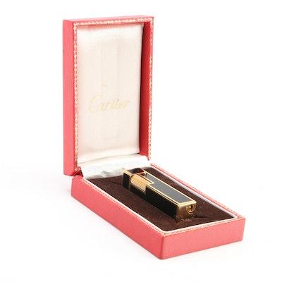 Cartier 18K Gold Plate Black Enamel Cube Lighter in Presentation Box