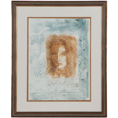 Abstract Etching With Aquatint of Woman, Late 20th Century